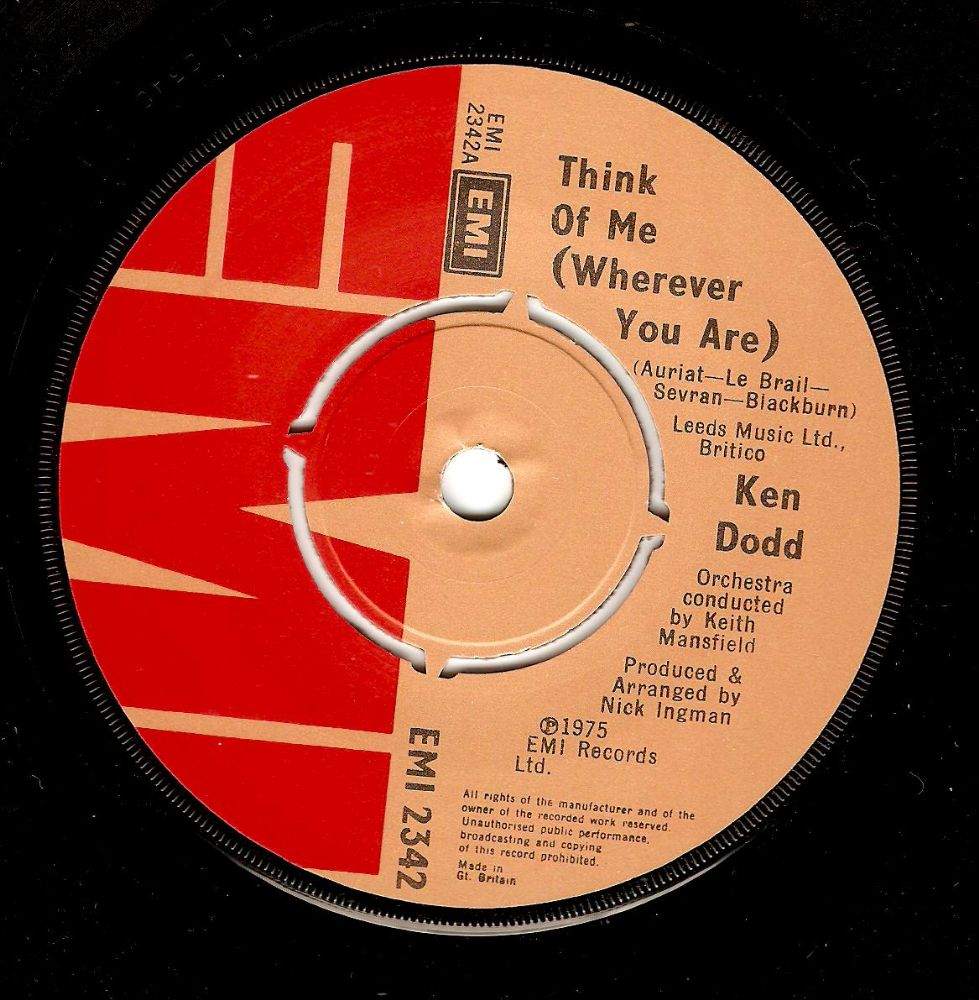 KEN DODD Think Of Me (Wherever You Are) Vinyl Record 7 Inch EMI 1975